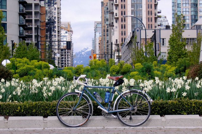 green building and bike Vancouver