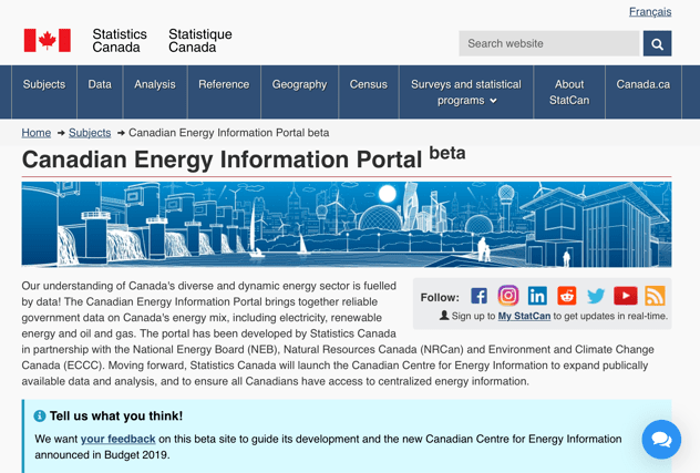 Energy Information banner