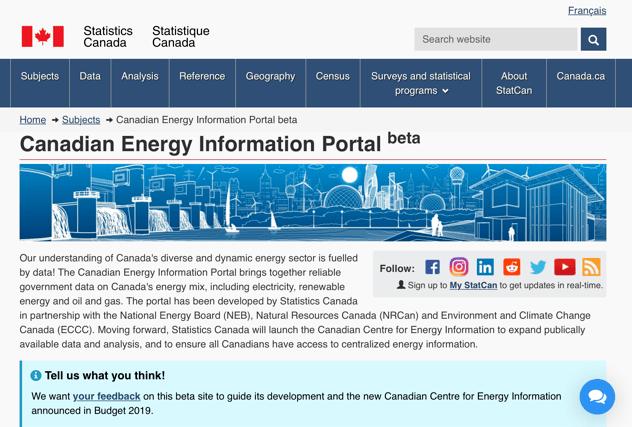 Energy Information banner